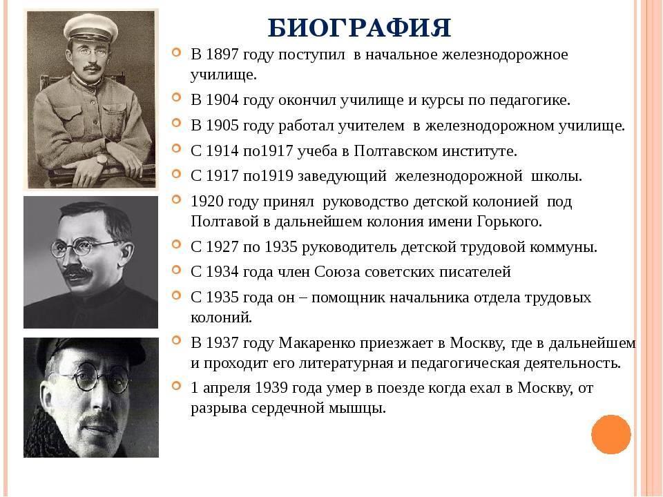 Кратко биография и деятельность писателя и педагога антона макаренко