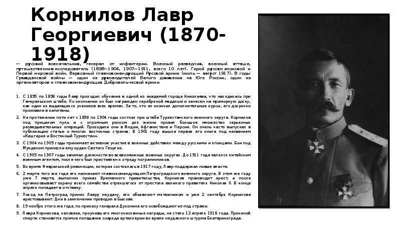 Несостоявшийся диктатор. 100 лет назад погиб лавр корнилов