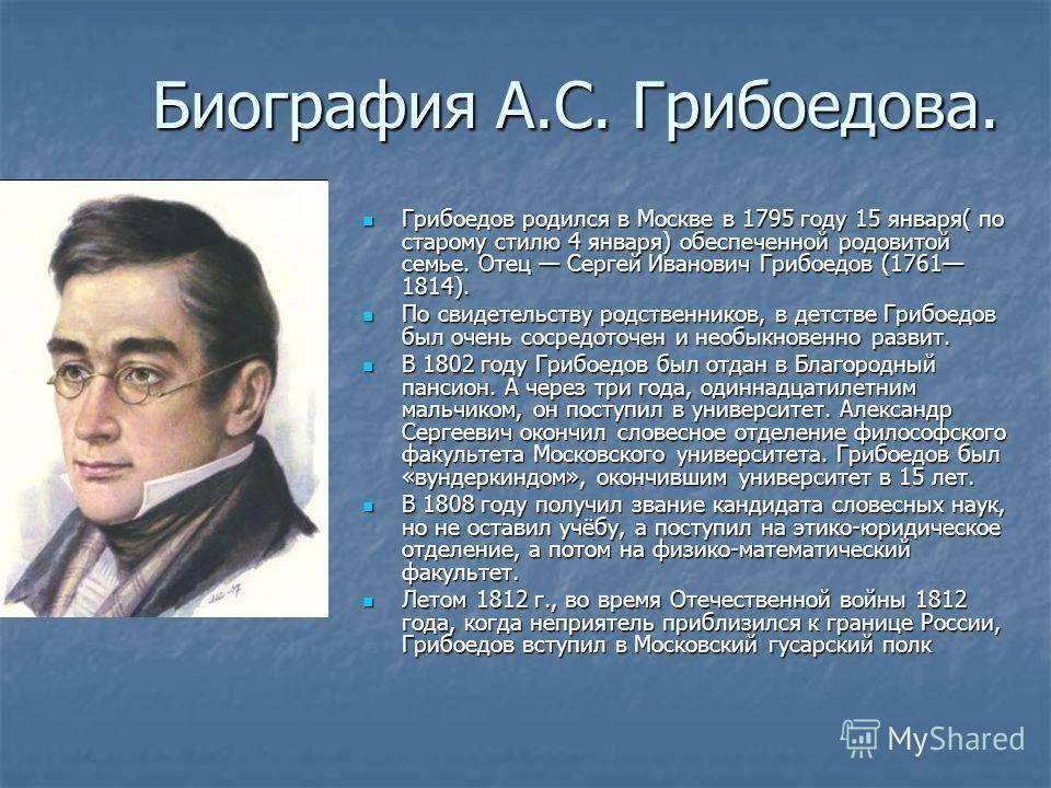 Биография Александра Грибоедова