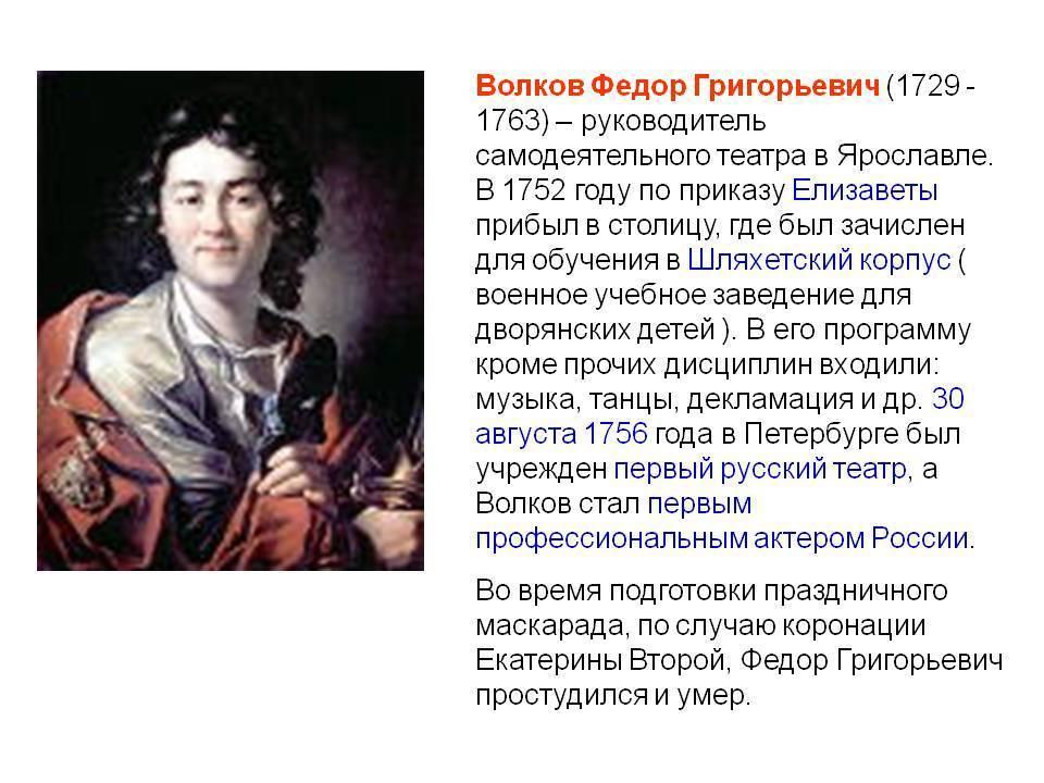 Фёдор григорьевич волков (fyodor volkov) | belcanto.ru