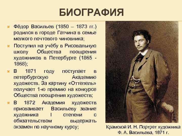 Биография Федора Васильева
