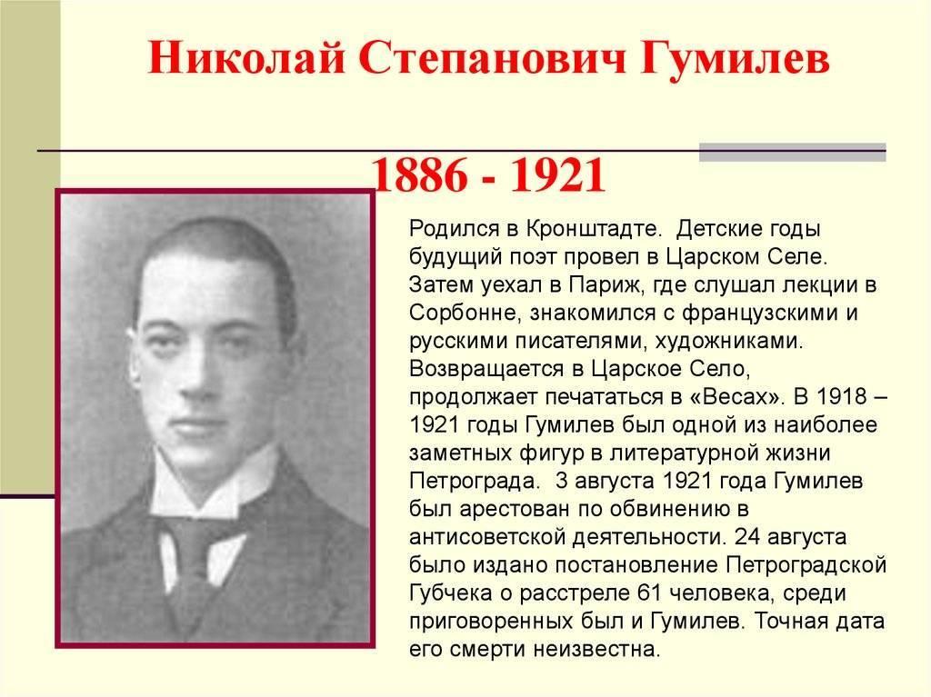 Интересные факты николай степанович гумилев. интересные факты из жизни николая гумилева | интересные факты