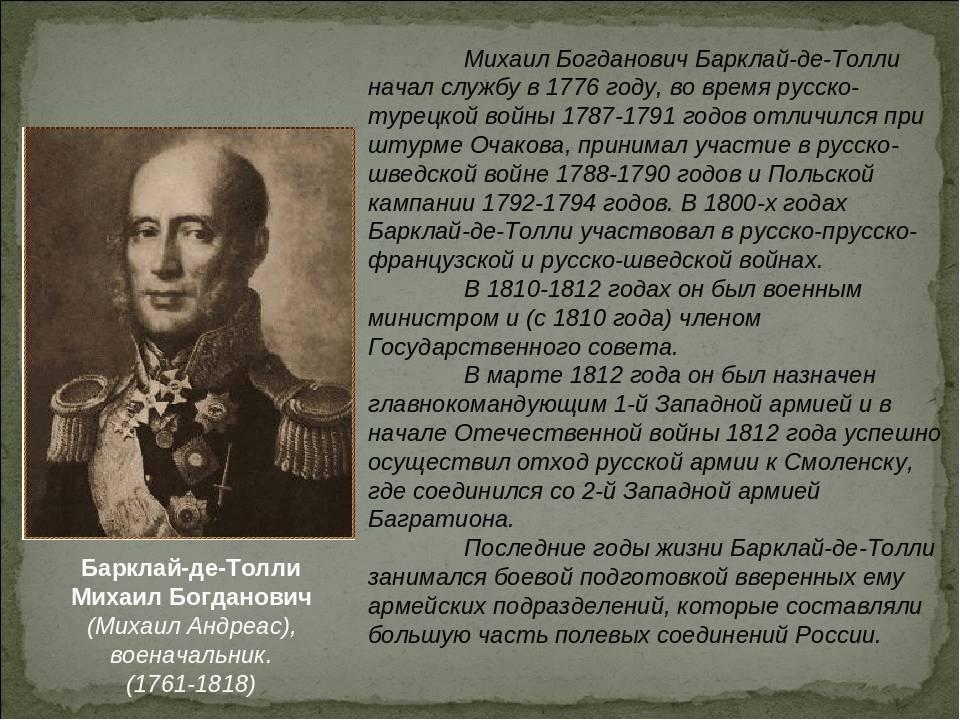 Краткая биография барклай де толли михаил богданович (жизнь и творчество)