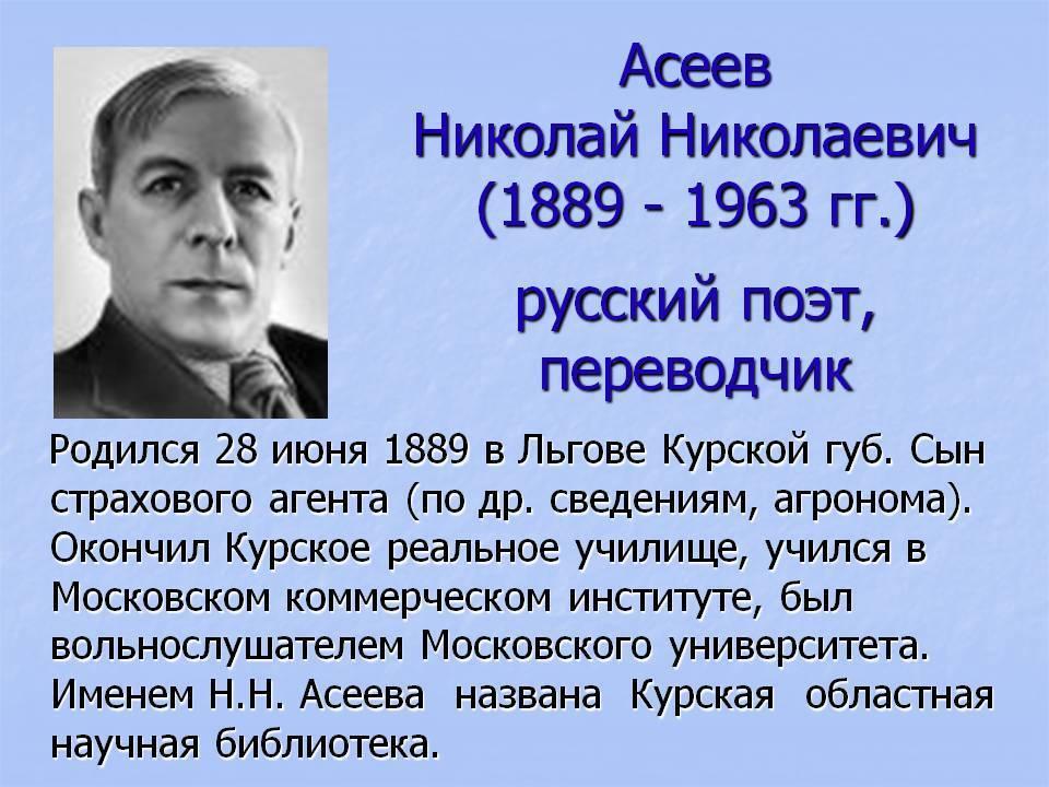 Николай асеев википедия