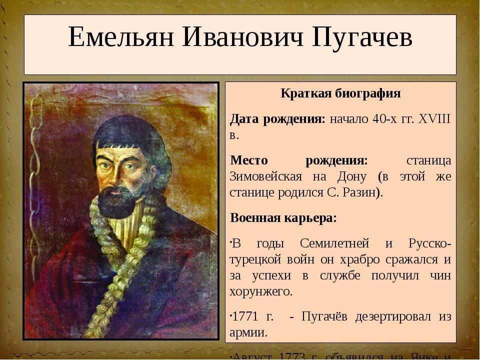 Емельян пугачев биография кратко для детей – интересные факты в истории