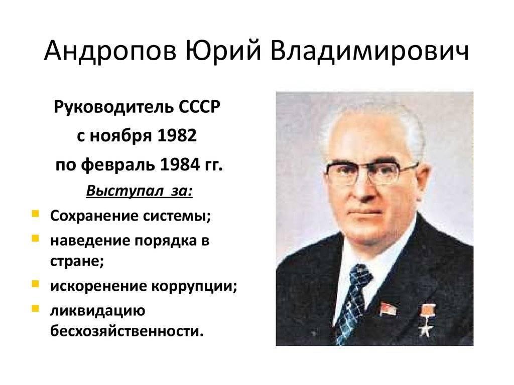 Краткая биография андропова юрия владимировича, личная жизнь