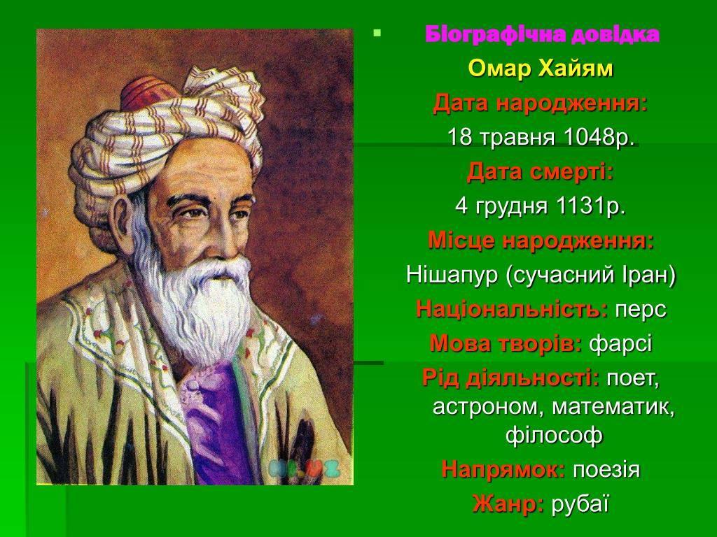 Краткая биография омара хайяма самое главное