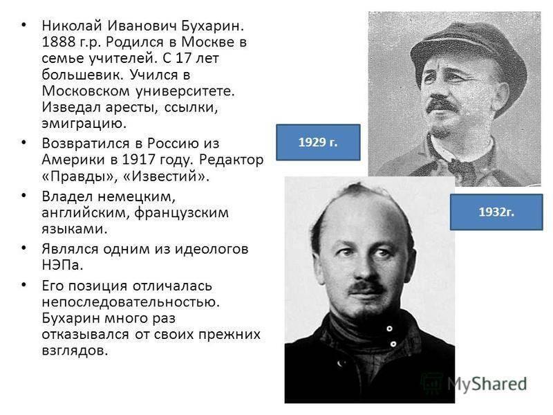 Краткая биография николая бухарина | краткие биографии