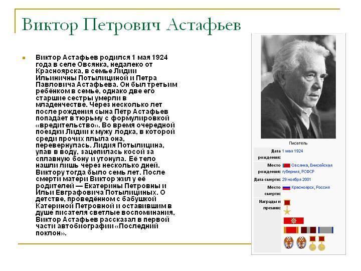 Астафьев виктор петрович / биографии писателей и поэтов для детей / гдз грамота