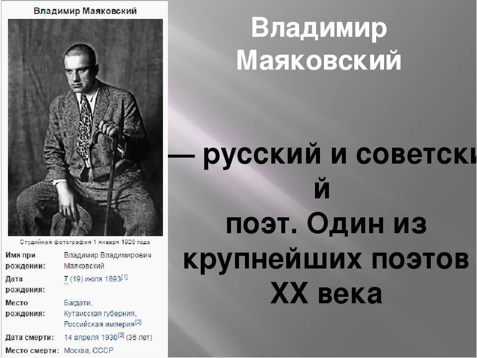 Интересные факты о маяковском из личной жизни, биографии и творчества владимира владимировича кратко