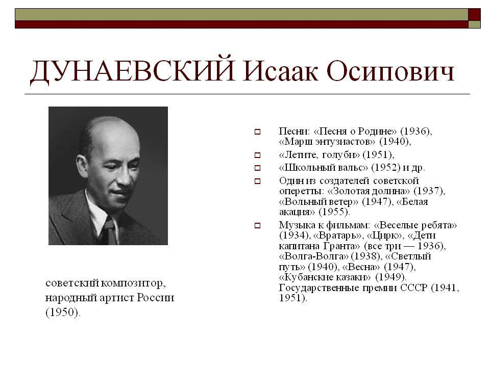 Краткая биография исаака осиповича дунаевского | краткие биографии