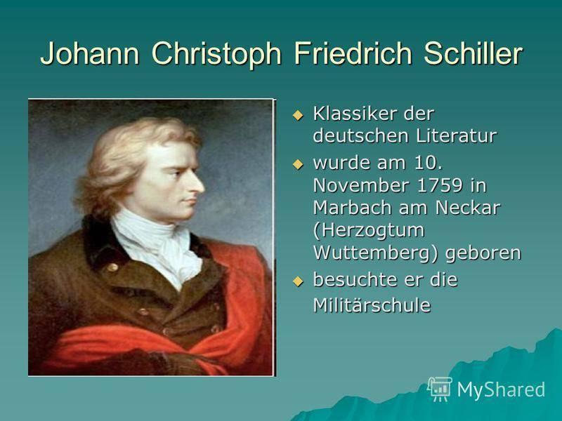 Шиллер краткая биография с интересными фактами. биография фридриха шиллера