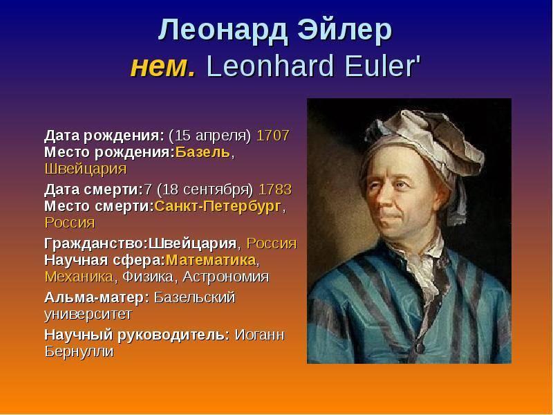 Глава iv научные заслуги эйлера. леонард эйлер. его жизнь и научная деятельность