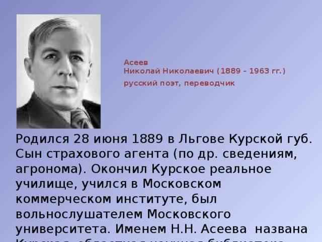 Николай николаевич асеев - вики