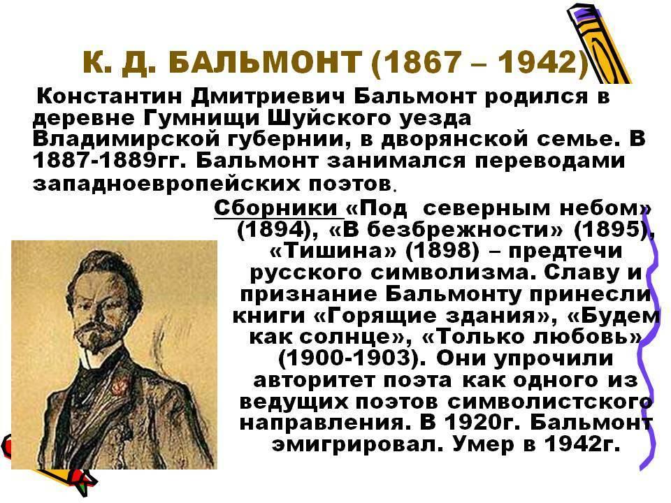 Константин дмитриевич бальмонт — викитека