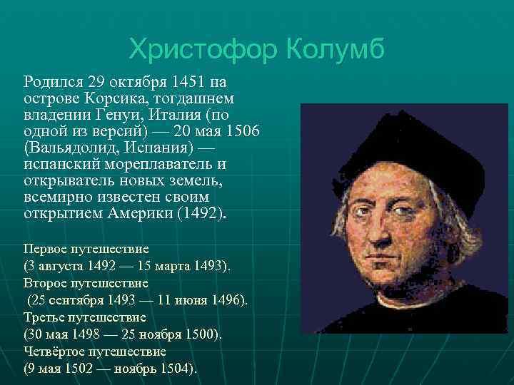 Христофор колумб краткая биография