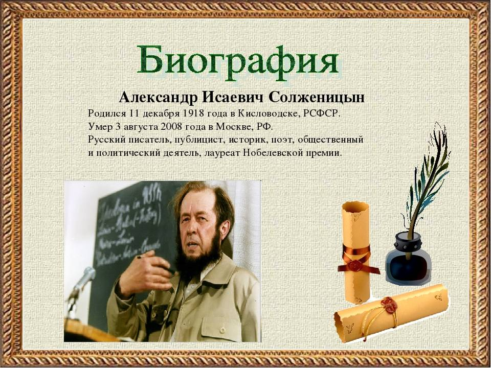 Краткая биография солженицына интересные факты творчества александра исаевича по датам