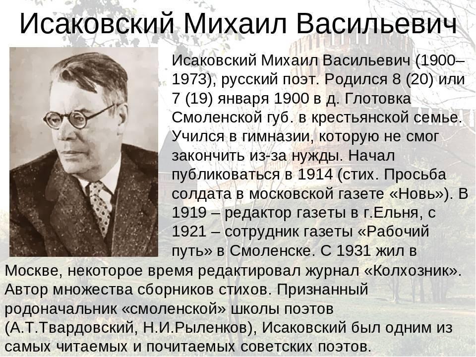 Исаковский, михаил васильевич биография, награды и премии