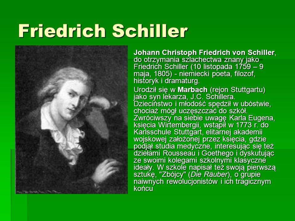 Фридрих шиллер биография поэта кратко