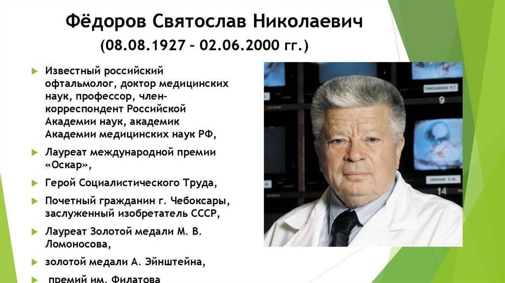 Краткая федорова святослава николаевича   краткие биографии