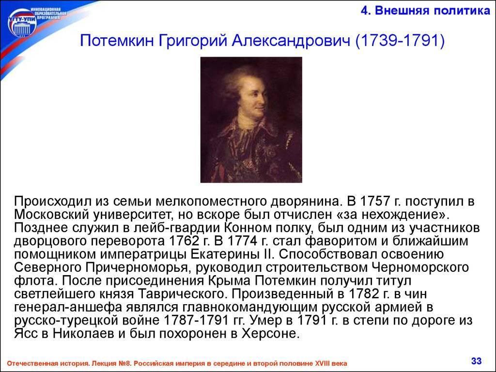 Биография григория потемкина-таврического: генерал-фельдмаршала и фаворита екатерины великой