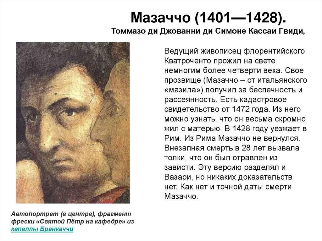Мазаччо - портрет, биография, личная жизнь, причина смерти, картины - 24сми