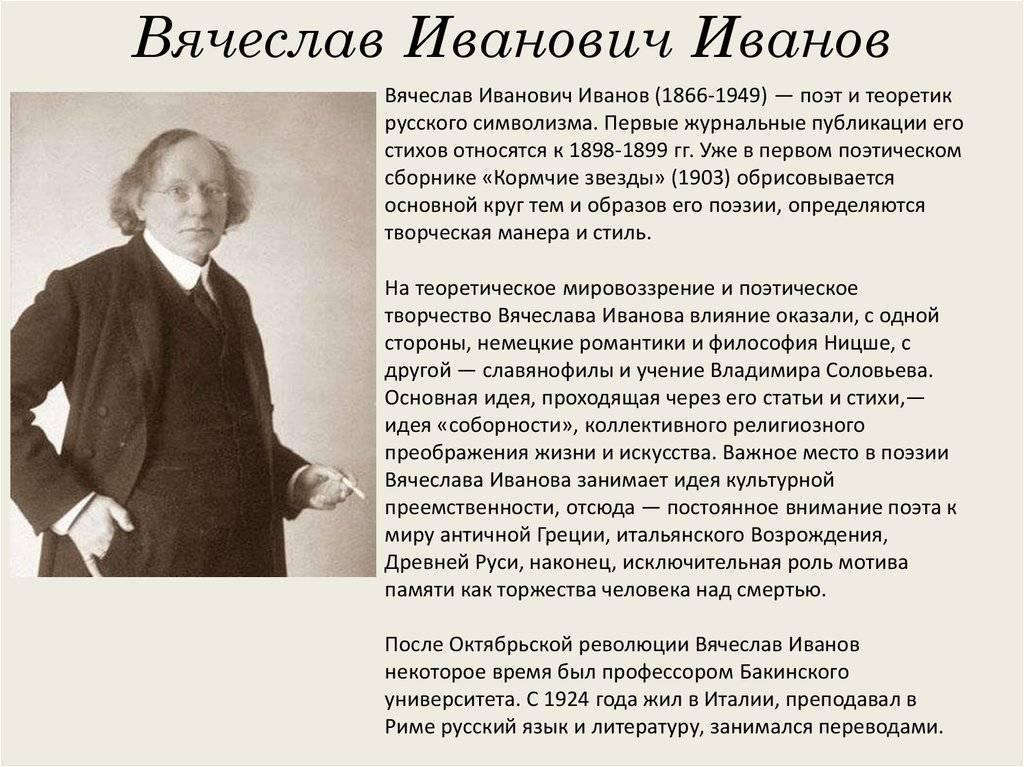 Вячеслав иванов — русская поэзия «серебряного века»
