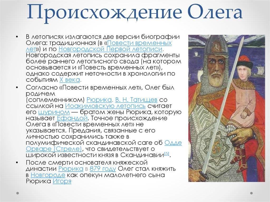 История правления князя олега вещего - 879-912 годы - кратко