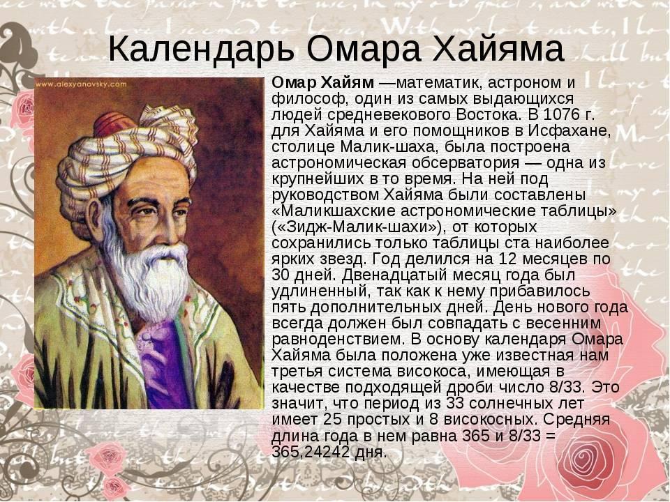 Омар хайям — биография. имя. научная деятельность. рубаи. трактаты. память о хайяме
