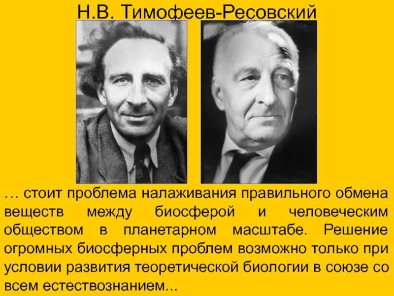 Тимофеев-ресовский, николай владимирович википедия