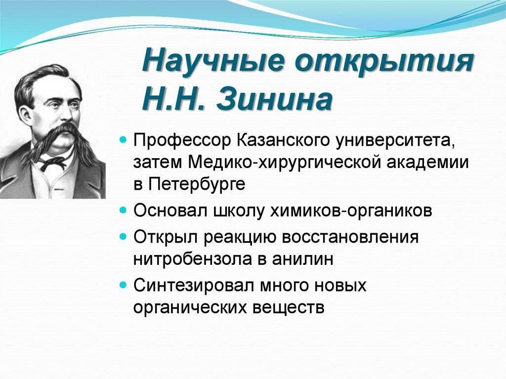 Николай зинин - химик-органик - биография, фото, видео