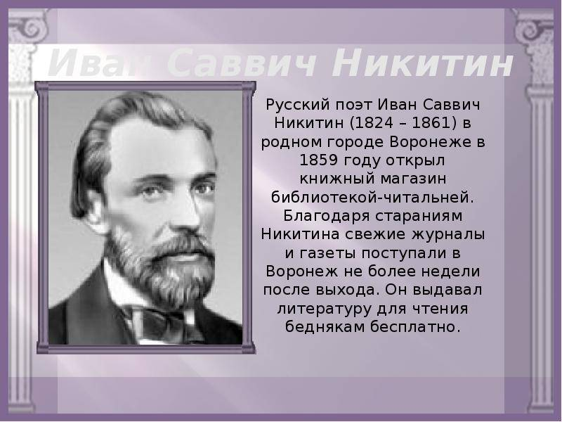 Биография ивана саввича никитина   краткие биографии