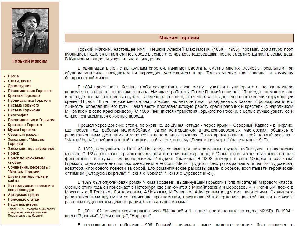 Биография горького