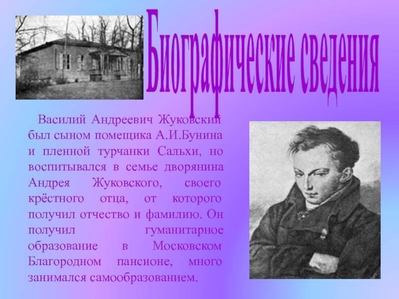 Мать и отец жуковского. биография жуковского василия андреевича   интересные факты