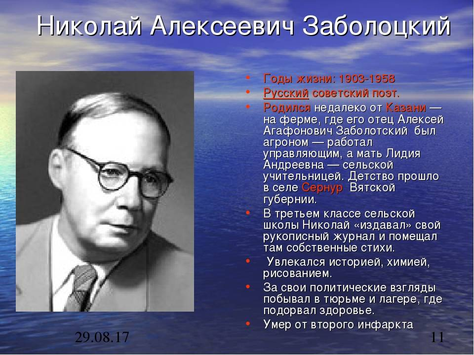 Биография Николая Заболоцкого