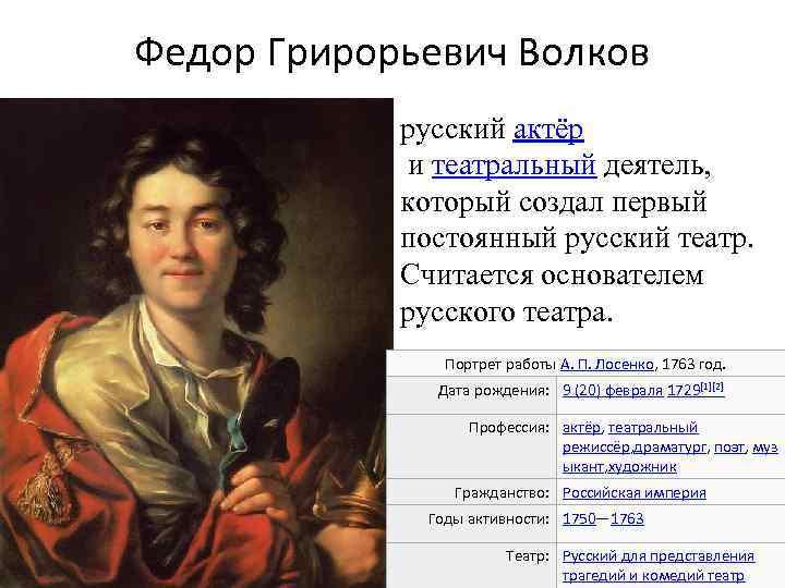 Волков, фёдор григорьевич