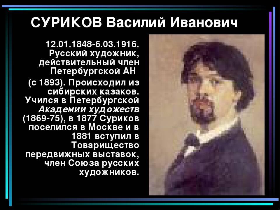 Василий иванович суриков: биография, карьера и личная жизнь