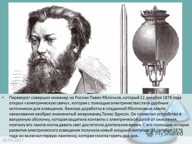 Яблочков. его биография и открытия. реферат. физика. 2010-12-28