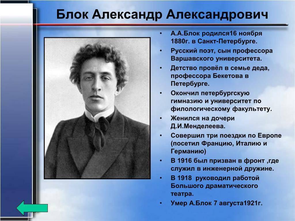 Краткая биография блока, творчество для детей и интересные факты жизни александра александровича блока