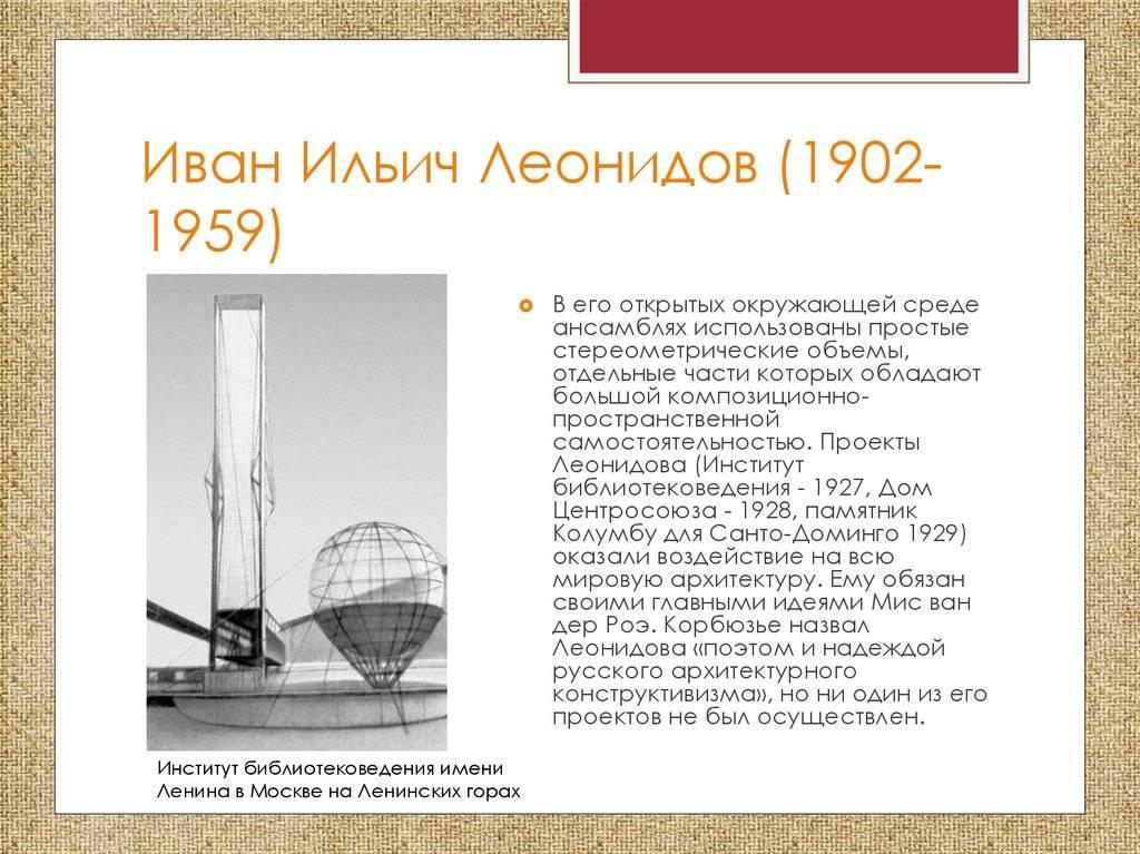 Леонидов, иван ильич биография, основные архитектурные работы, 1925, 1926