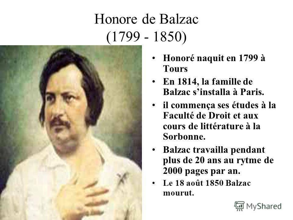 Биография оноре де бальзака
