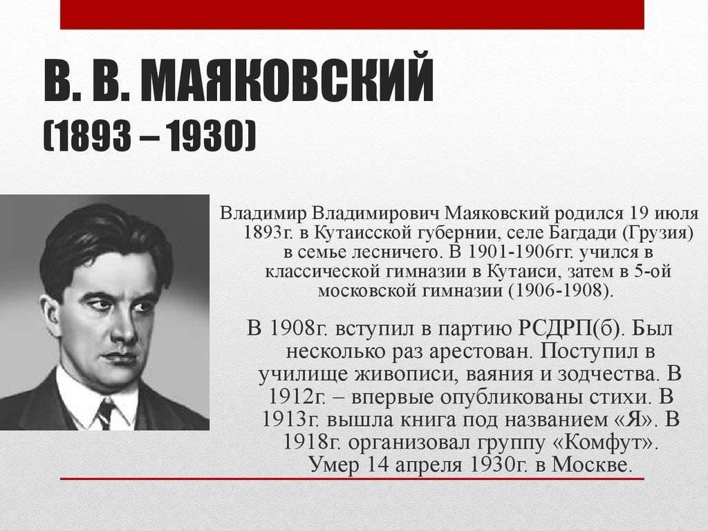 Владимир маяковский: краткая биография поэта, личная жизнь