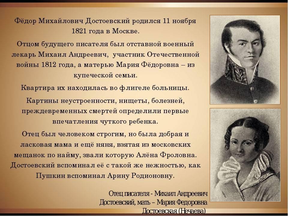 Биография достоевского