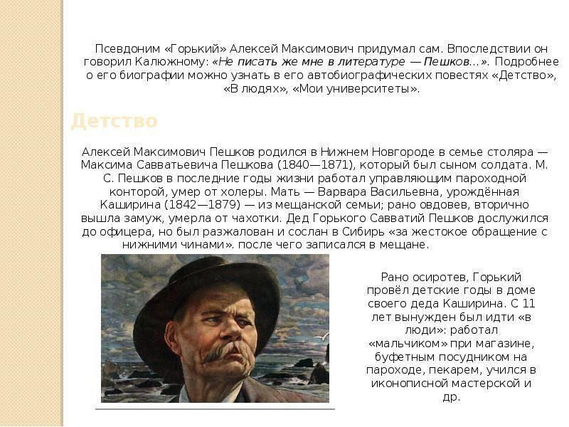 Интересные факты о писателе. краткая биография максима горького