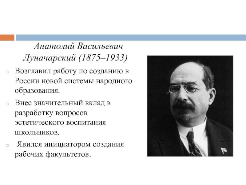 Покровитель интеллигенции и советской науки: 145 лет назад родился анатолий луначарский
