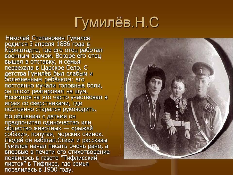 Краткая биография николая гумилева   краткие биографии