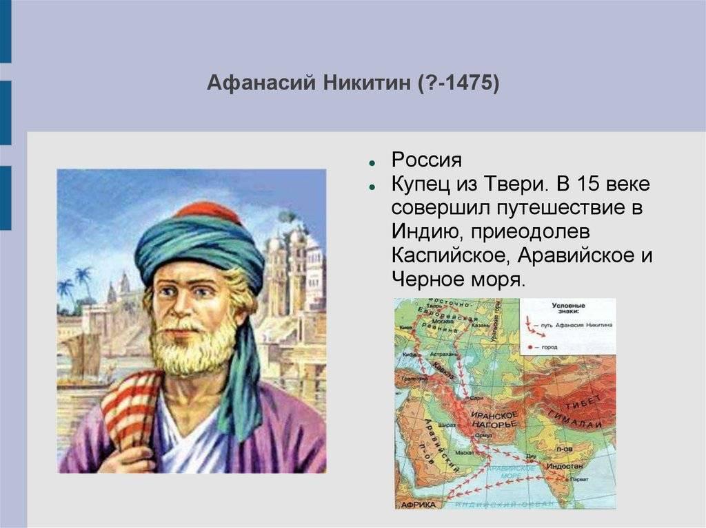 Афанасий никитин — биография, открытия, путь и карта путешествия афанасия никитина