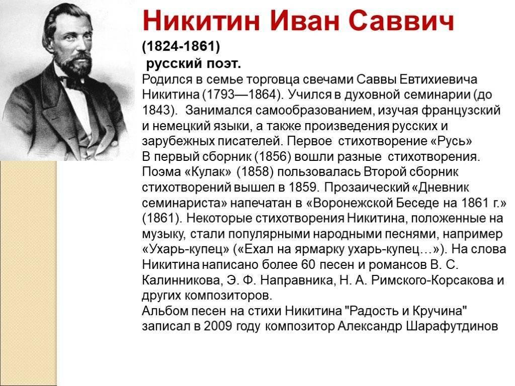 Доклад никитин иван саввич 3 класс сообщение