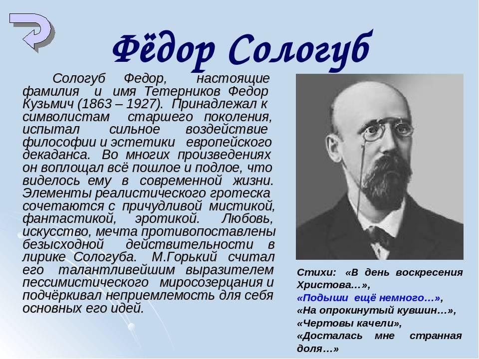 Сологуб федор - краткая биография