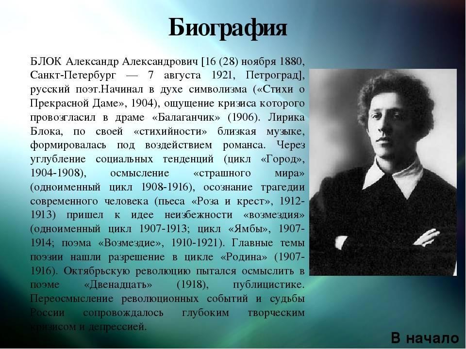 Александр блок: стихи, творчество, биография, интересные факты из жизни :: syl.ru